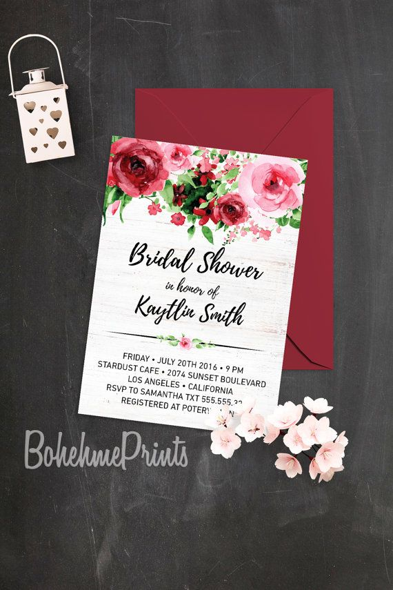 free e cards bridal shower invitations%0A Watercolor Roses Bridal Shower Invitation Modern by BohemePrints