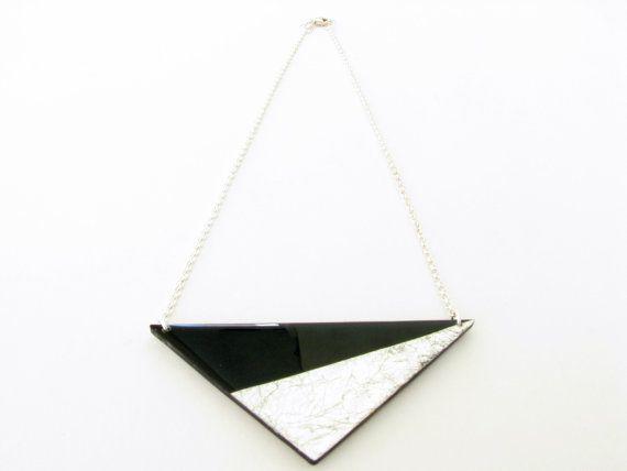 Black Geometric Necklace Black Resin Necklace by SotiriaVasileiou, $27.00