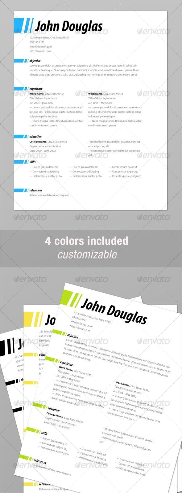 Modern Clean Scannable Resume Templates Indesign  MaggiLocustdesignCo
