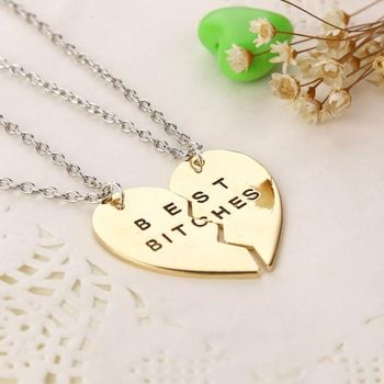 Find More Pendant Necklaces Information about Gold/Silver 2pcs 3pcs Split Heart Friendship Necklace best friend necklace Best Bitches Pendant Necklace,China necklace gothic Suppliers, Cheap necklace clover from Personality Life Space on Aliexpress.com