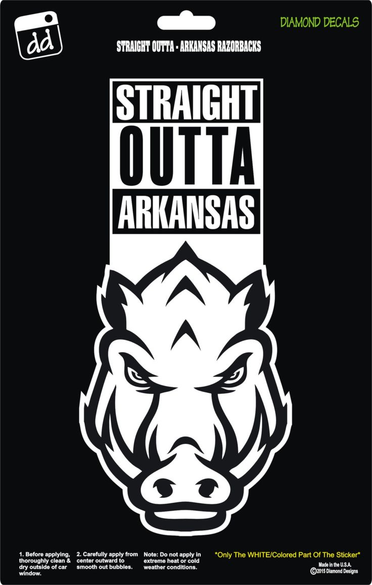Straight Outta Arkansas Razorbacks College Football Logo Decal Vinyl Sticker Car Truck Window Laptop by DiamondDecalz