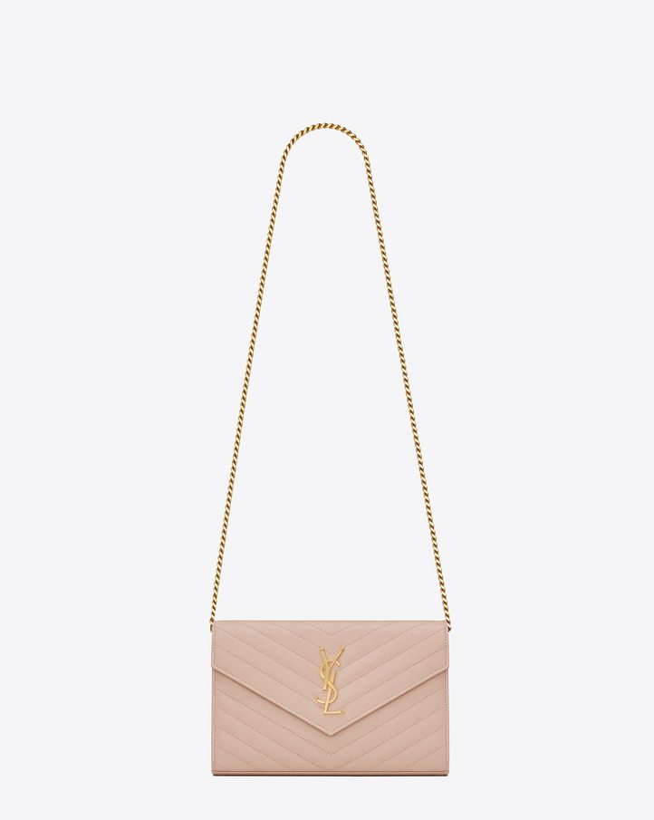 saintlaurent, MONOGRAM SAINT LAURENT chain wallet in pale pink grain de poudre textured matelassé leather