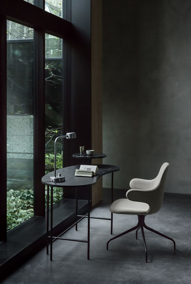 Inspiring working space... Catch Chair with Swivel base & The Palette Desk by Jaime Hayon.  Working Title Lamp by Harri Koskinen