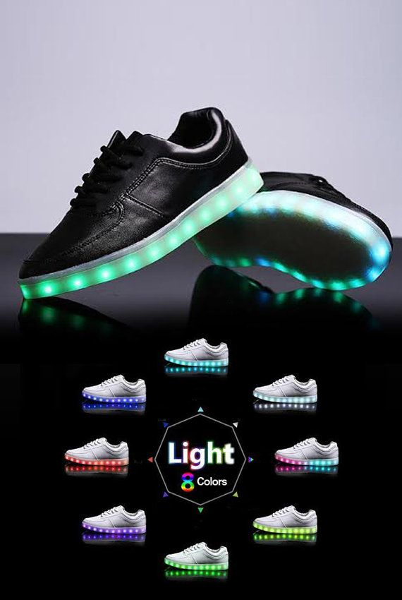 New light-up shoes with color changing LEDS! Easily change the color of your lights to red, yellow, green, blue, purple, aqua, white or even a rainbow