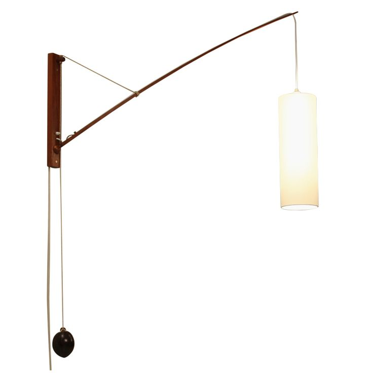Wooden Wall Lamp With Coconut Counterweight - Denmark 1950ies