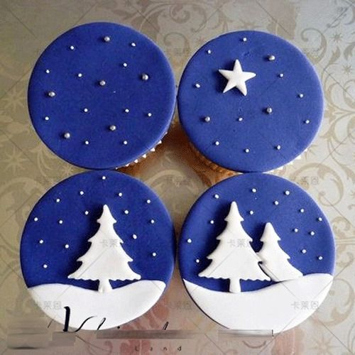 3Pcs Christmas Treeplunger Cup Cake Mold Cookie Cutter Fondant Sugarcraft Baking