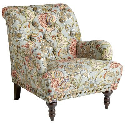 Pier 1 Imports - Chas Armchair - Meadow -Take a seat in a flowering meadow, offered here in a timeless silhouette. Overstuffed and tufted, this handcrafted armchair comes with vintage charm to spare: Rolled back and arms, ornamental nailhead trim, self-welting and turned hardwood legs.