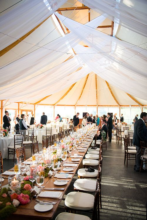 A sailcloth reception tent with draped