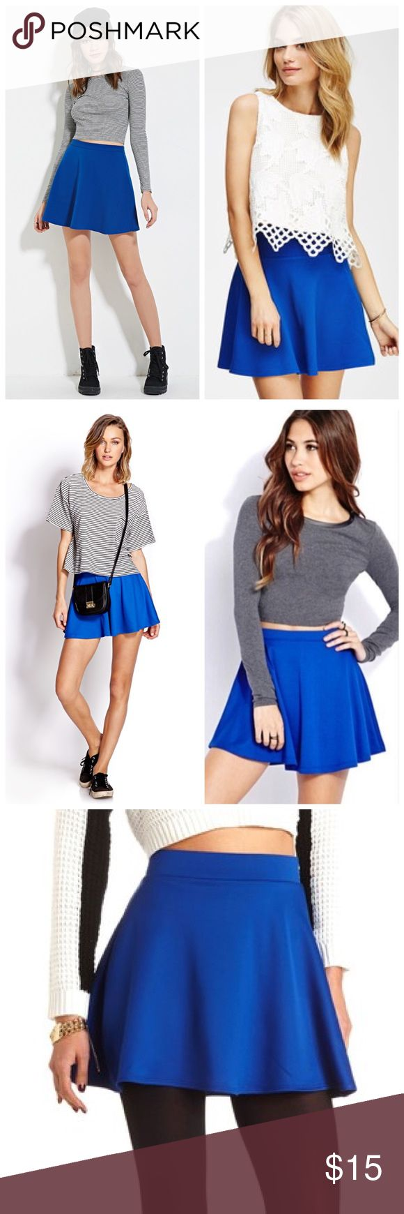 ROYAL BLUE SKATER SKIRT Pretty royal blue skater skirt. New with tags. Fits size M/L. MATERIAL: 96 Polyester 4% spandex. Skirts Circle & Skater