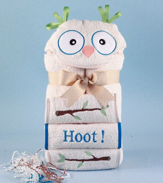 117 best baby shower ideas gifts images on pinterest baby bird what a hoot baby boys bath time will be with this fun owl themed hooded towel and washcloth gift set negle Images