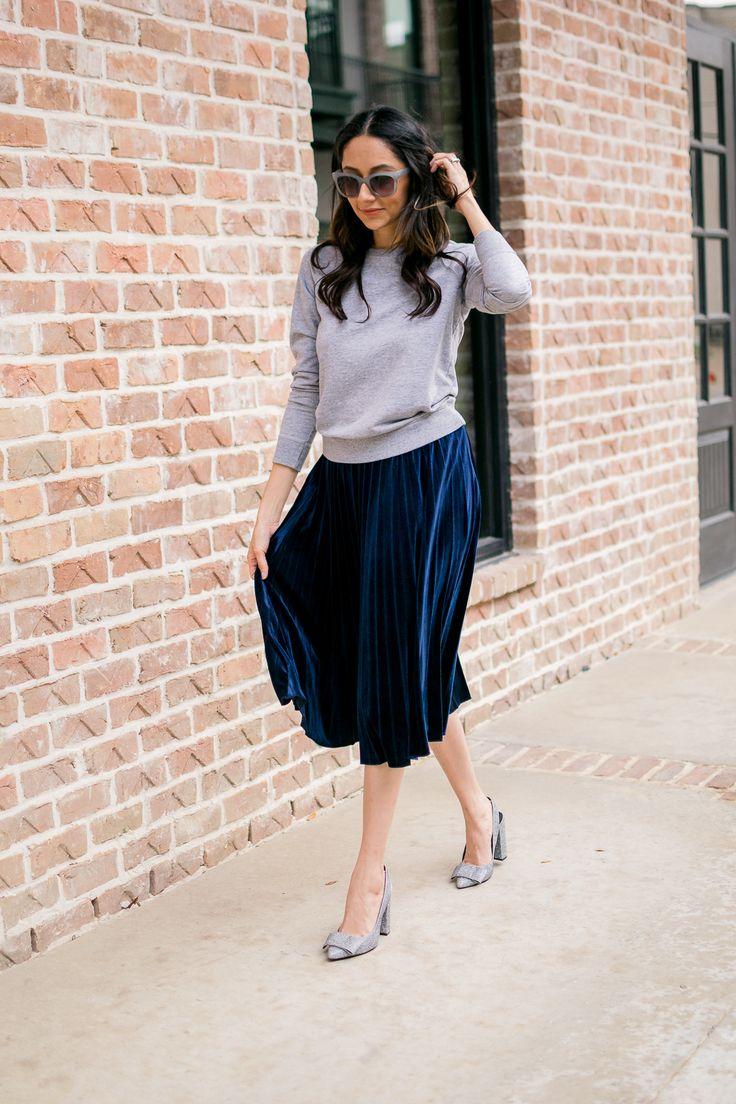 How to dress down a pleated velvet skirt