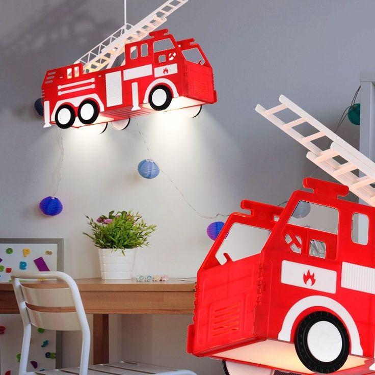kinder feuerwehr decken pendel leuchte auto h nge lampe. Black Bedroom Furniture Sets. Home Design Ideas