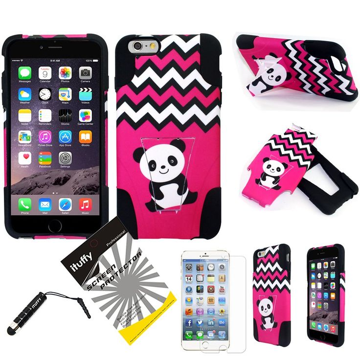 """3 items Combo: ITUFFY(TM) LCD Screen Protector Film + Stylus Pen + 2 tone Design Dual Layer KickStand Tuff Impact Armor Hybrid Soft Rubber Silicone Cover Hard Snap On Plastic Case for Apple IPhone 6 Plus (5.5"""" Screen Size) (Pink Chevron Cute Panda - Black). Compatible with: Apple IPhone 6 Plus (5.5"""" Screen Size). Dual Layer Hybrid case, consist of Outer Layer Hard Plastic Cover and Inner Soft Rubber TPU Skin Case. Including ITUFFY(TM) Premium Quality LCD Screen Protector Film /w Cleaning..."""