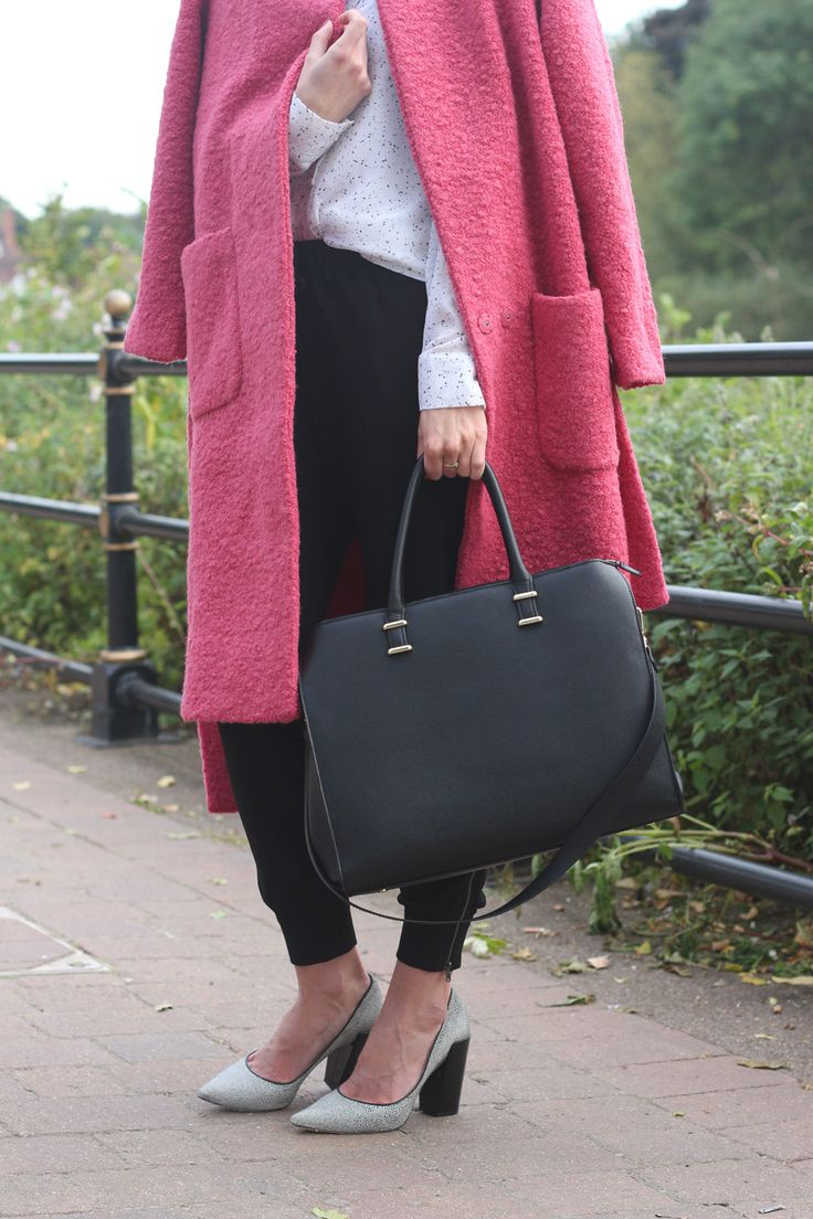 'Pink Teddy Coat' personal look on www.fringeanddoll.com #Ganni #personalstyle #whistles #heels #hm #bag