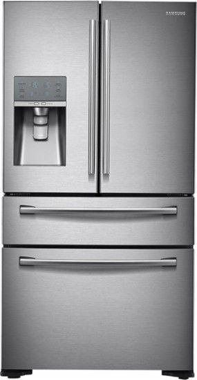 Samsung - 31.0 Cu. Ft. 4-Door French Door Refrigerator with Thru-the-Door Ice and Water - Stainless-Steel - Front Zoom