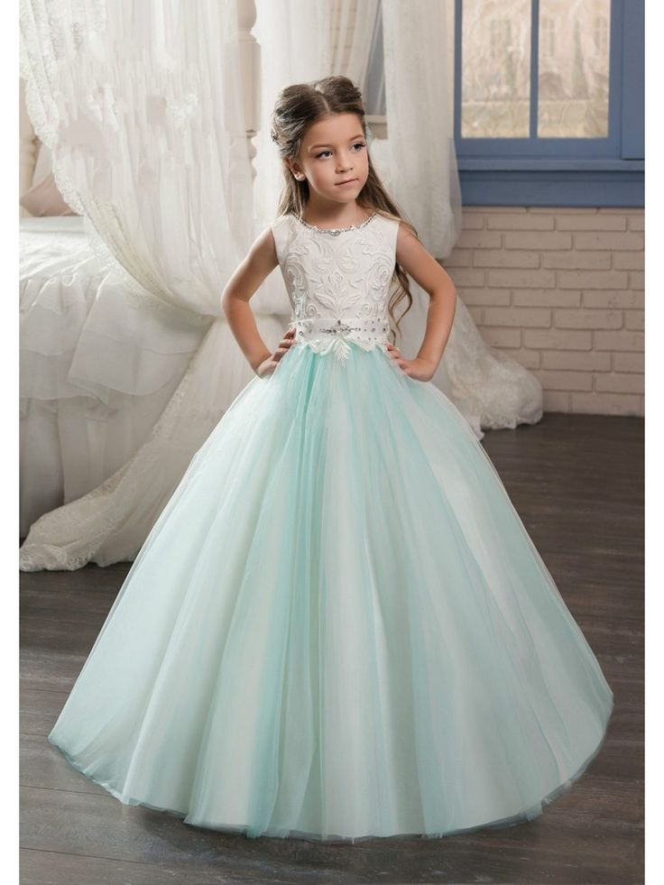 Beaded Lace Appliques Tulle Princess Ball Gown Flower Girl Dresses 5501096