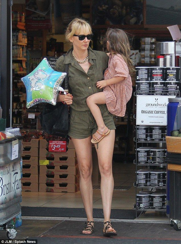 Out and about: Kimberly Stewart was pictured grocery shopping in LA on Sunday with her daughter Delilah