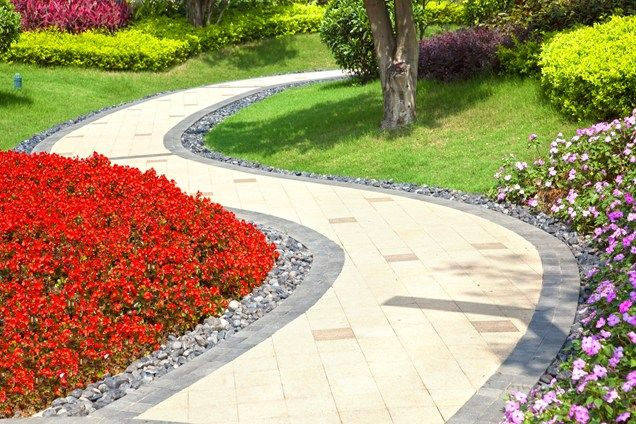 like the river rock border and flowers - Multi Colored Paver Walkway  Walkway and Path  Landscaping Network  Calimesa, CA