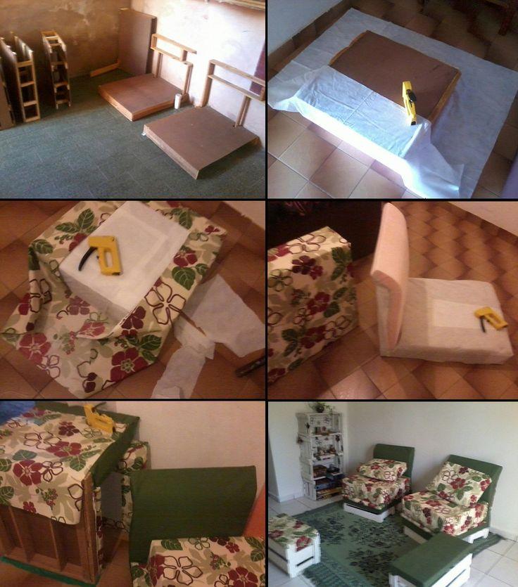 Poltronas reutilizando armação de sofá velho, TNT, espuma, tecido e pregador.