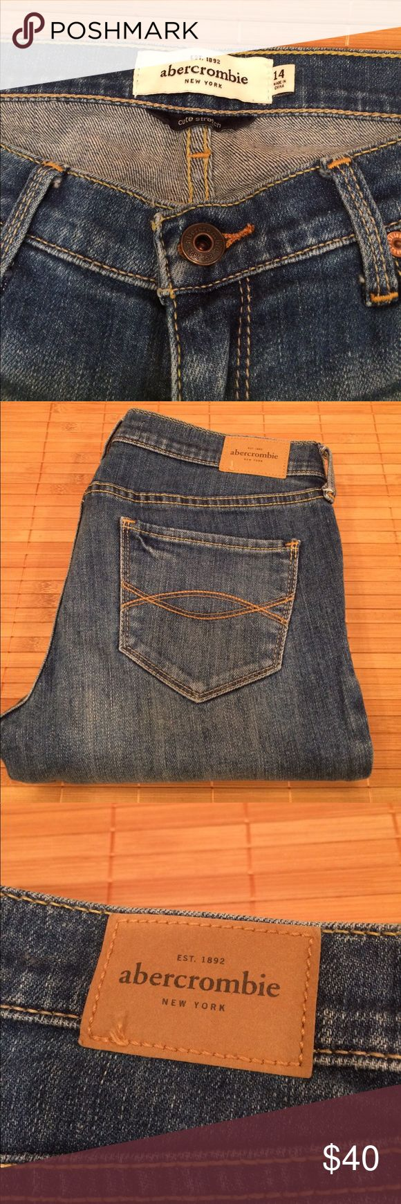 "abercrombie girls sz 14 ""Maddy"" jeans - NWOT Super sweet, super soft,  skinny abercrombie girls size 14 Maddy jeans.  I'm a size 00 and these fit me great. I never wore them and tags are gone but perfect shape.  Light whiskering details. Low rise. Tag reads 98% cotton and 2% elastane. abercrombie kids Jeans Skinny"