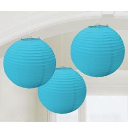Modrý guľatý lampión - 24 cm, 3 ks/bal