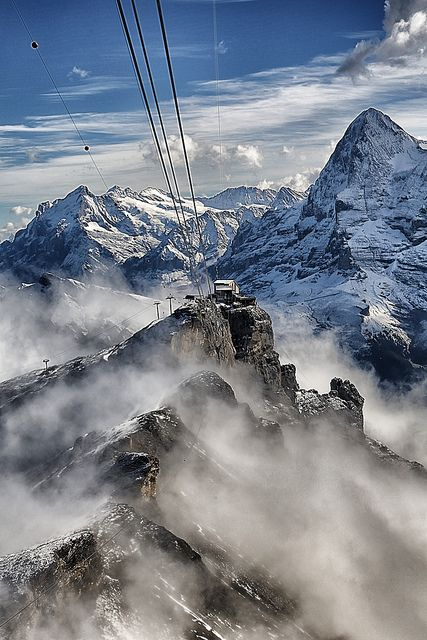 Switzerland - The Schilthorn. we rode the cable car to the top of the Schilthorn for a treat at the revolving restaurant. Unforgettable.