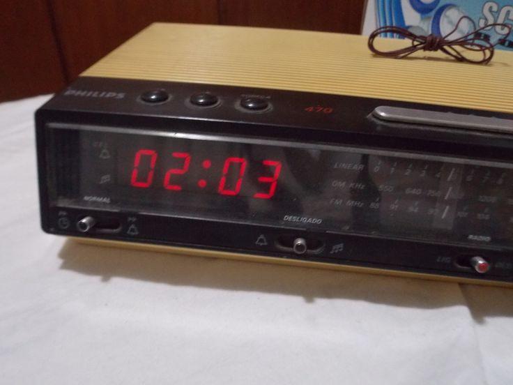 radio relogio philips 470 vintage antigo com antena original