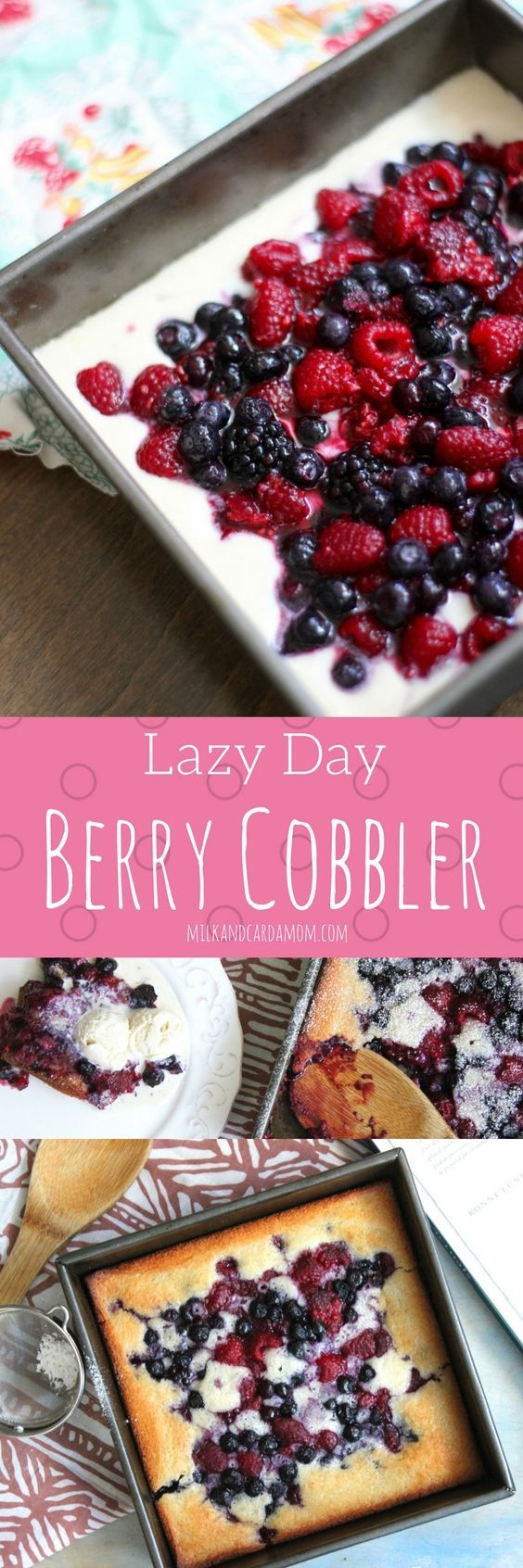 The easiest and BEST berry cobbler recipe! Takes only 15 minutes to put together!