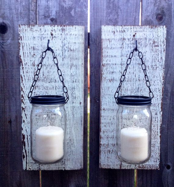 Large mason jar barn wood candle holders on Etsy, $45.00