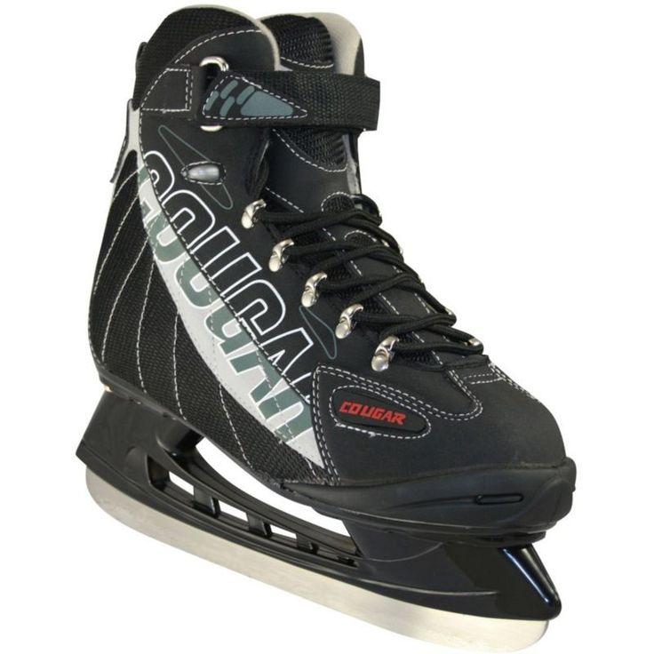 American Athletic Shoe Senior Cougar Soft Boot Hockey Skates, Black