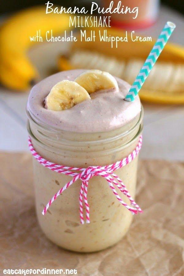 """""""Skinny"""" Banana Pudding Milkshake with Chocolate Malt Whipped Cream"""