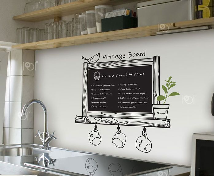 vinyl chalkboard wall stickers wallpaper kitchen chalk board decal coffee bar blackboard home decoration removable-in Wall Stickers from Hom...