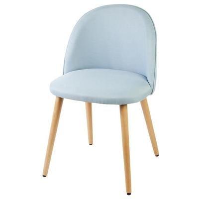 MACARON Chaise en tissu bleu pastel - Pieds en bois - Style scandinave - L 50 x P 50 cm - Achat / Vente chaise Structure bois hêtre massif -Revêtement tissu - Cdiscount