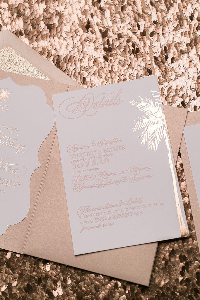 KONA Glitter Pocket Folder, rose gold foil, rose gold glitter, elegant blush wedding invitation