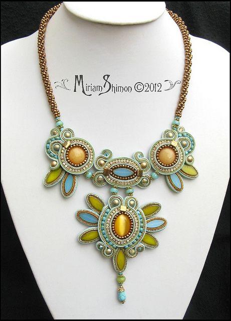 Reigna Soutache Necklace by Cielo Design, #soutache