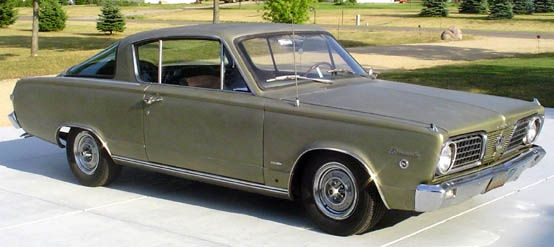 This is what I drove in high school, a '66 Barracuda. It was my first car. Mine was blue. Wish I still had it