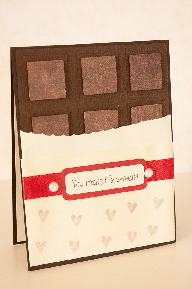 Valentine Card, Chocolate Bar Card, Love Card, You Make Life Sweeter, Handmade Card by BeautyfromashesUSA on Etsy