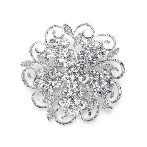 Filigree Crystal Flower Wedding Pin