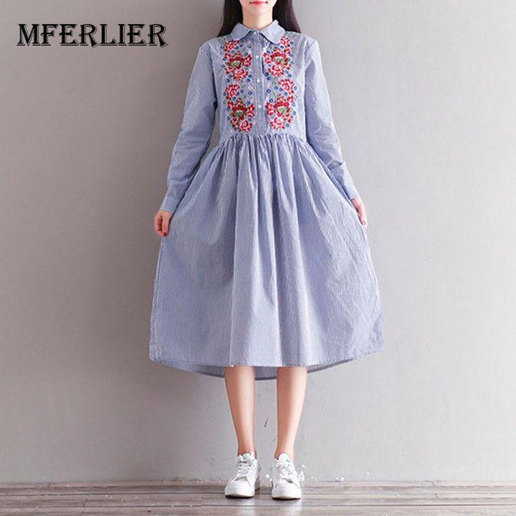 Весеннее Платье с принтом в полоску из хлопка и льна платье рубашка повседневная с длинным рукавом вышивка винтажное платье женская одежда размер M 2XLкупить в магазине Mira's Natural LifeнаAliExpress