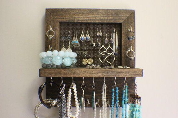 Mini Kona Stained Wall Mounted Jewelry Organizer, Wall Organizer, Jewelry Display, Necklace Holder, Earring Organizer