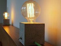 "2 Beton Nachttischlampen ""CUBO duo""  Lamp, Lampe, Beton, Concrete, Bulb, Fabric Cable, concrete lamp, industrial, Table, Tisch, Textilkabel, Tischlampe, Nachttischlampe"
