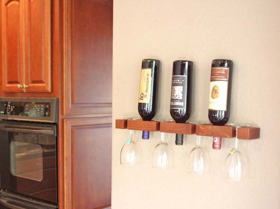 Wall Wine Rack 3 Bottle 4 wine Glasses by AdliteCreations on Etsy
