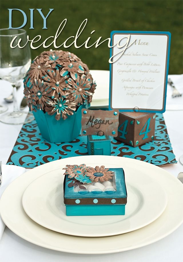 turquoise and brown wedding decorations