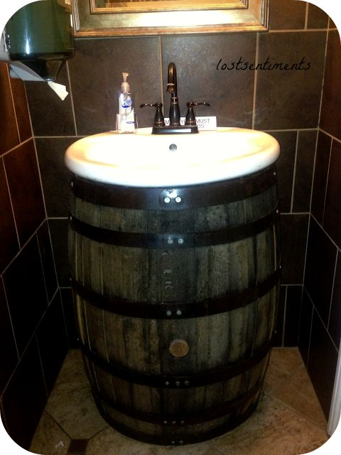 how to build a wine barrel sink