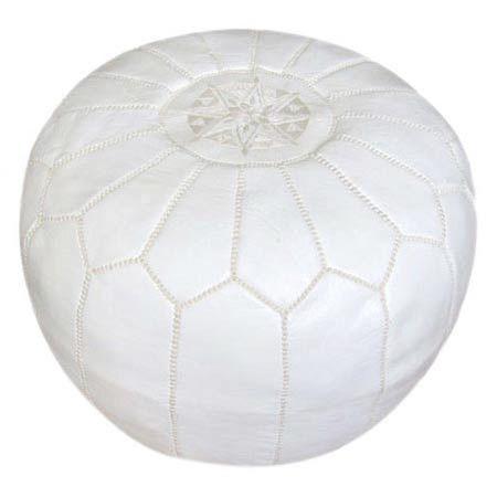 white pouf   ...: Poufconstruction Material, Poufs, White, Handmade Leather, Ottomans, Decorative Stitch