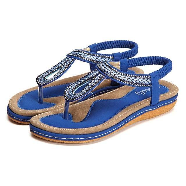 248d325d0b7e1 Socofy Rhinestone Knitted Beach Flat Sandals Women Summer Shoes Elastic  Slip On Clip Toe Bohemian Sandals