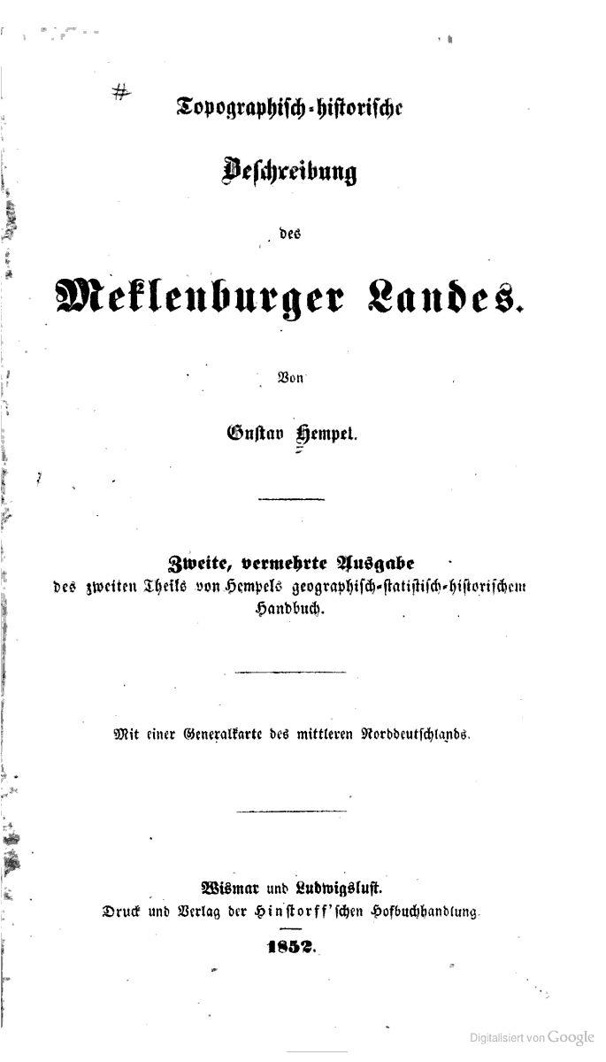 Topographisch-historische beschreibung des Meklenburger landes - Gustav Hempel (of Mecklenburg.) - Google Books