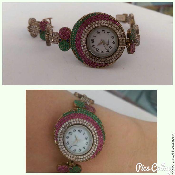 Купить Серебряные часы с самоцветами - серебряный, серебряные часы, часы из серебра, часы, женские часы