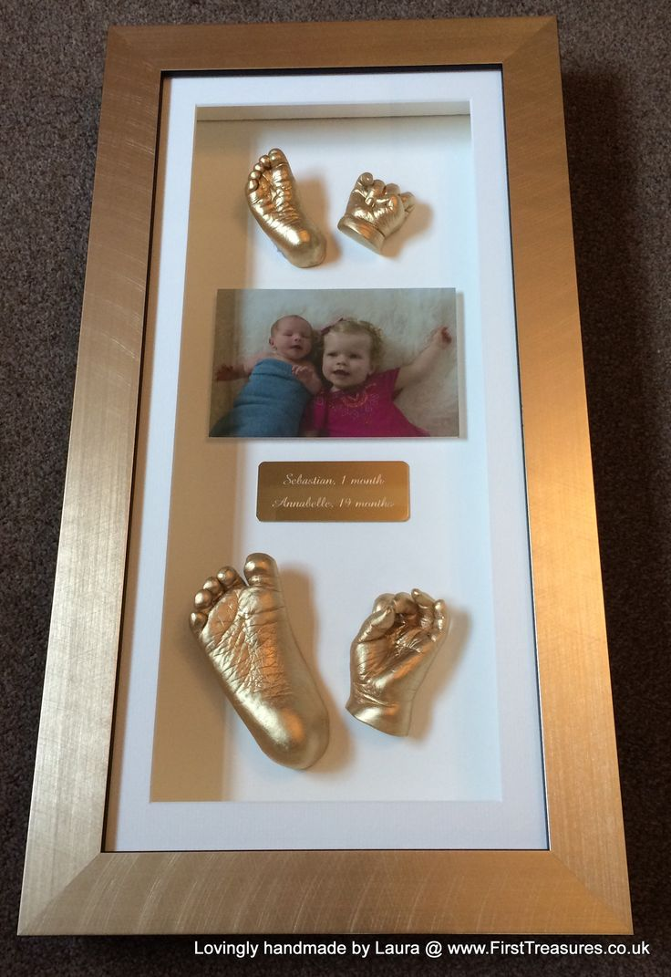 Brother and sister 3d hand and foot casts in a frame, essex