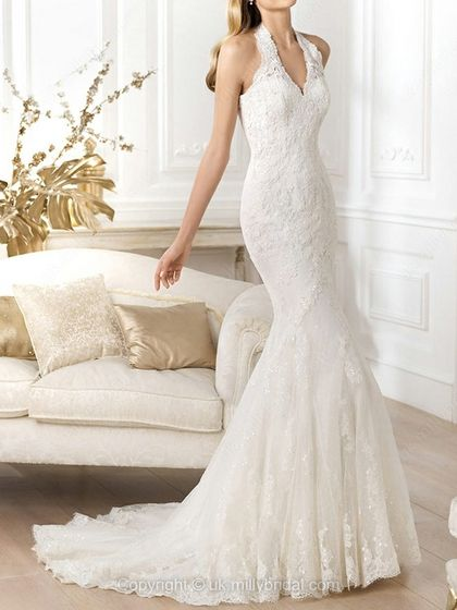 Trumpet/Mermaid Halter Lace Tulle Court Train Beading Wedding Dresses -USD$327.69